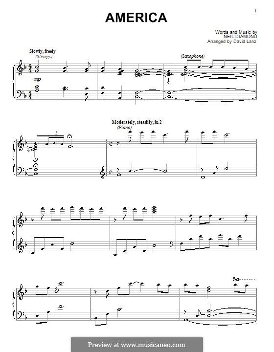 America: For piano by Neil Diamond