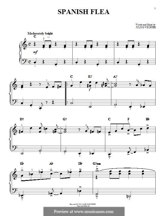 Spanish Flea (Herb Alpert & The Tijuana Brass Band): For easy piano by Julius Wechter