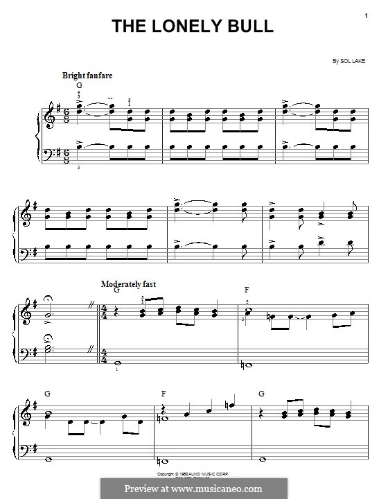 The Lonely Bull (Herb Alpert & The Tijuana Brass Band): For easy piano by Sol Lake