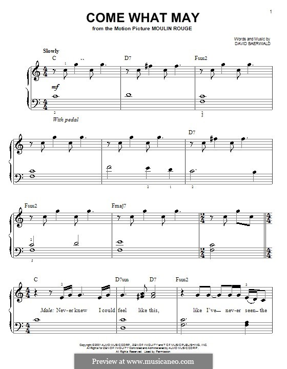 Come What May (from Moulin Rouge): For easy piano by David Baerwald