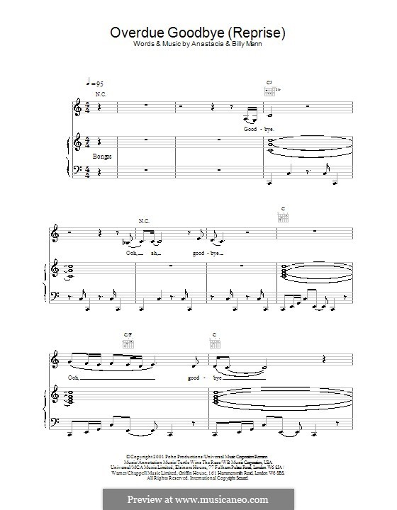 Overdue Goodbye (reprise): For voice and piano or guitar (Anastacia) by Billy Mann
