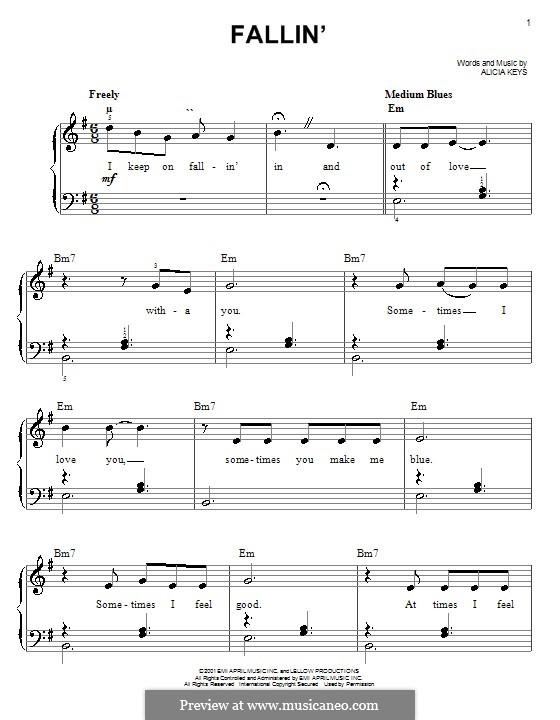 Fallin': For easy piano by Alicia Keys