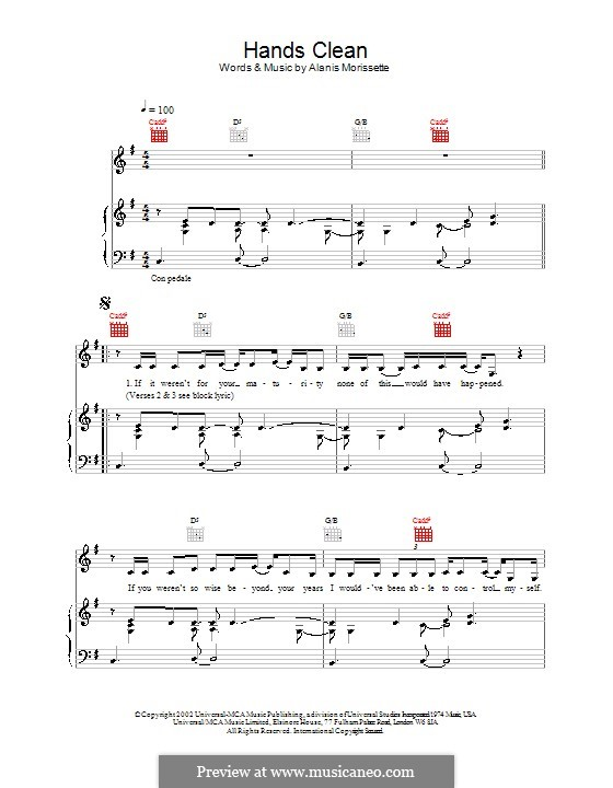 Hands Clean: For voice and piano (or guitar) by Alanis Morissette
