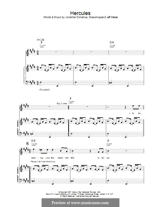 Hercules (Mercury Rev): For voice and piano (or guitar) by Jonathan Donahue
