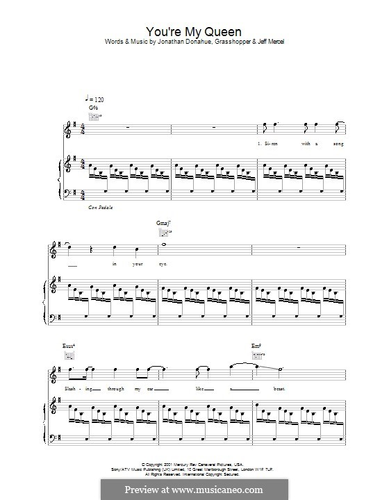 You're My Queen (Mercury Rev): For voice and piano (or guitar) by Jonathan Donahue