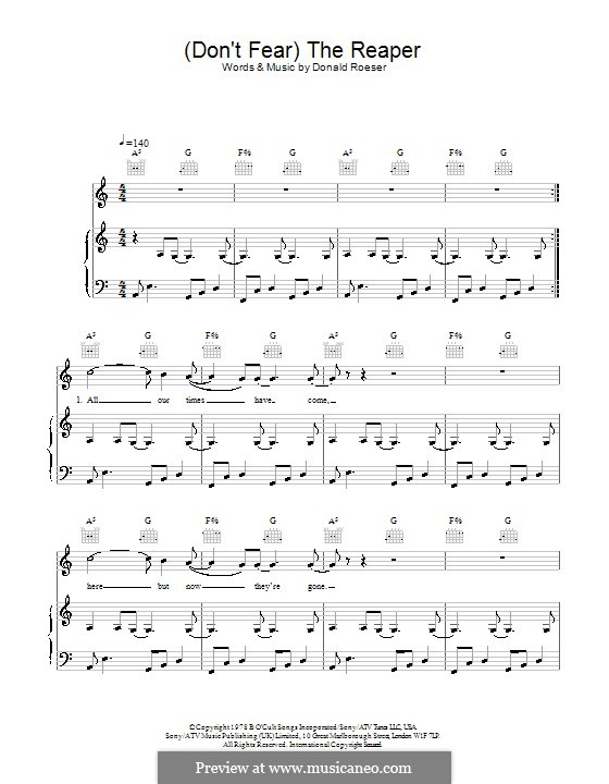 Don't Fear / The Reaper (Blue Oyster Cult): For voice and piano (or guitar) by Donald Roeser