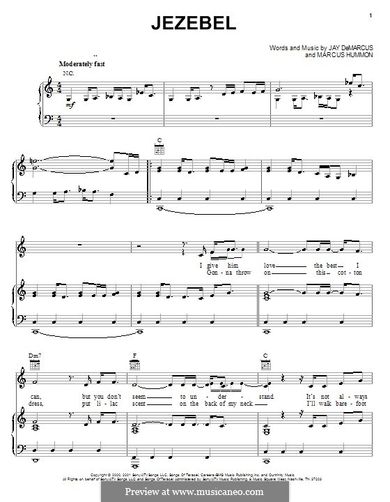 Jezebel (Chely Wright): For voice and piano (or guitar) by Jay DeMarcus, Marcus Hummon