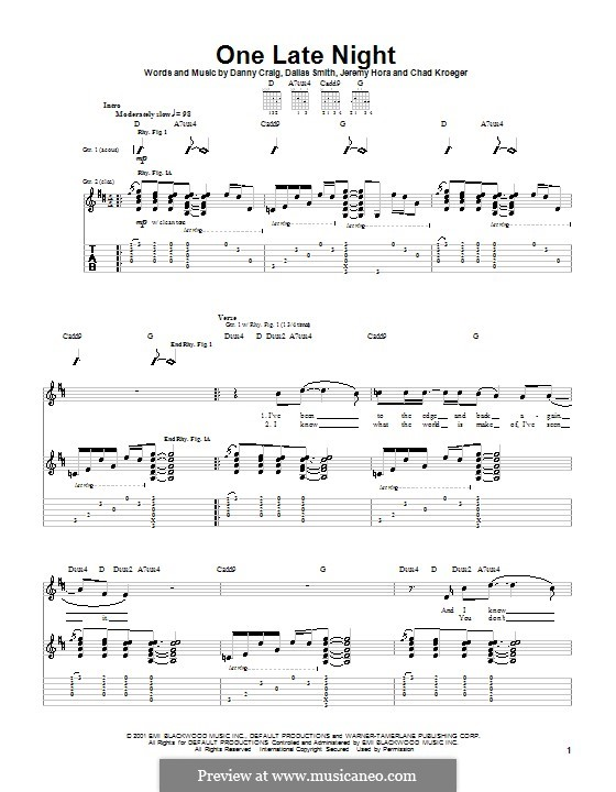 One Late Night (Default): For guitar with tab by Chad Kroeger, Dallas Smith, Danny Craig