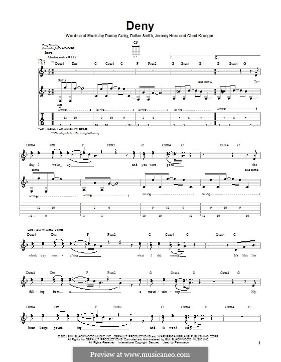 Deny (Default): For guitar with tab by Chad Kroeger, Dallas Smith, Danny Craig