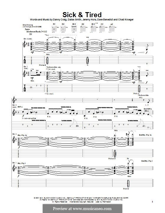 Sick and Tired (Default): For guitar with tab by Chad Kroeger, Dallas Smith, Danny Craig