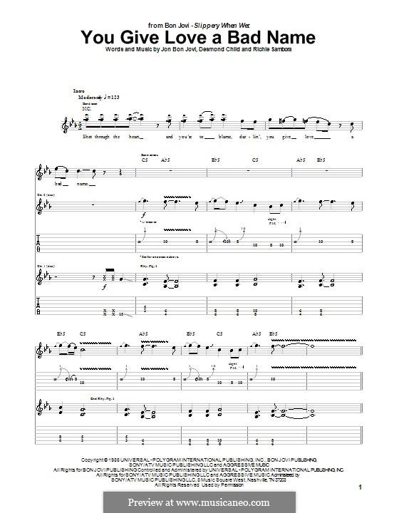 You Give Love a Bad Name (Bon Jovi) by D. Child, J.B. Jovi, R ...