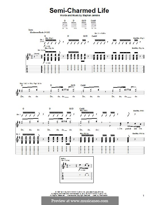 Semi-Charmed Life (Third Eye Blind): For guitar with tab by Stephan Jenkins