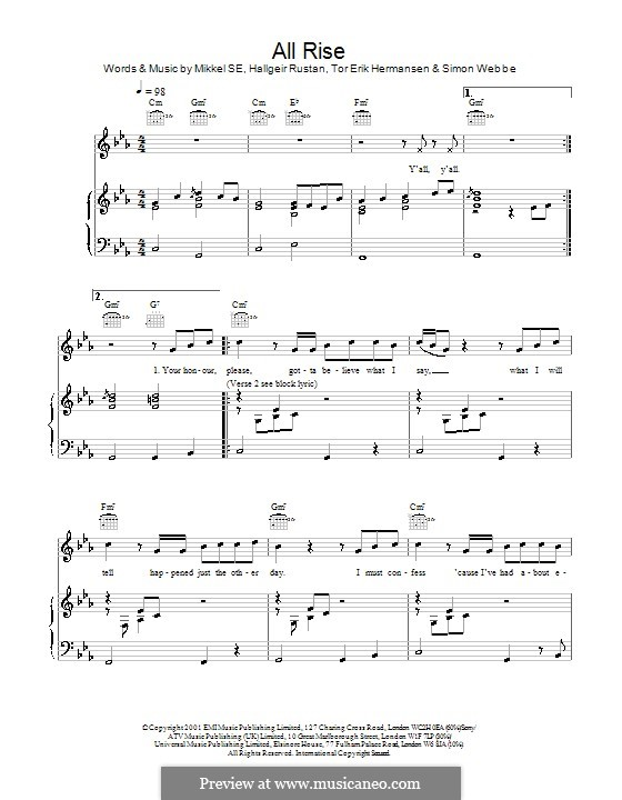 All Rise (Blue): For voice and piano (or guitar) by Hallgeir Rustan, Mikkel Storleer Eriksen, Tor Erik Hermansen