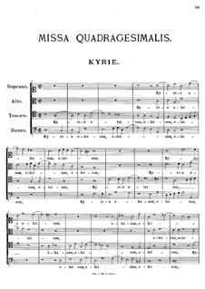 Missa Quadragesimalis, K.29: Missa Quadragesimalis by Johann Fux