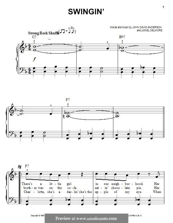 Swingin': For easy piano by John David Anderson, Lionel Delmore