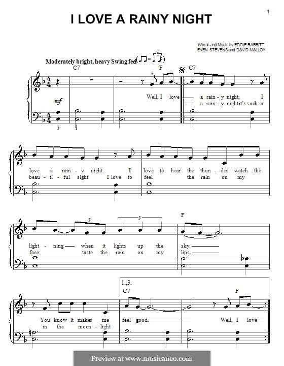 I Love a Rainy Night (Eddie Rabbitt): For easy piano by David Malloy, Even Stevens
