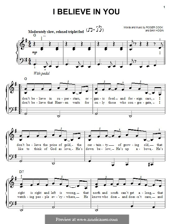 I Believe in You (Don Williams): For easy piano by Roger Cook, Sam Hogin