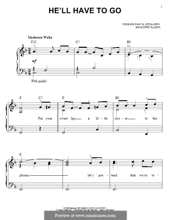 He'll Have To Go (Jim Reeves): For easy piano by Audrey Allison, Joe Allison