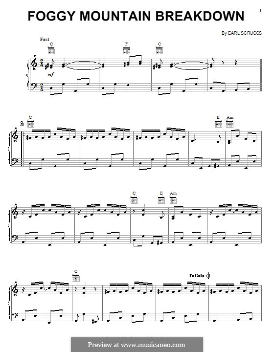 Foggy Mountain Breakdown By E Scruggs Sheet Music On MusicaNeo