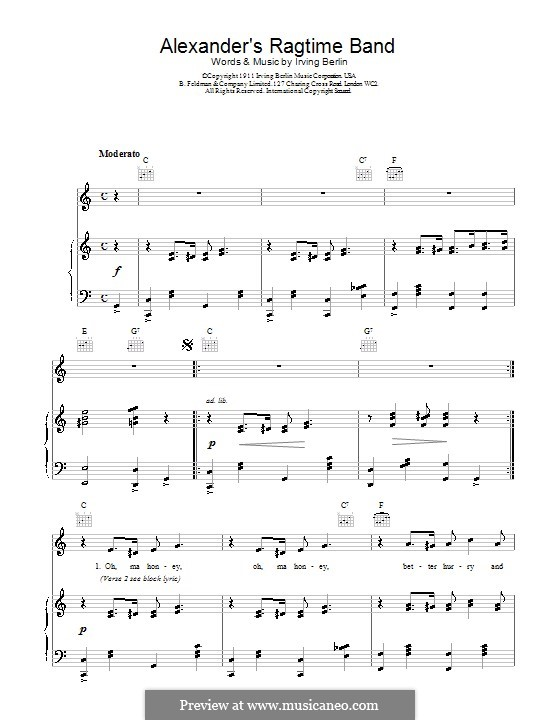 Alexander's Ragtime Band: For voice and piano (or guitar) by Irving Berlin