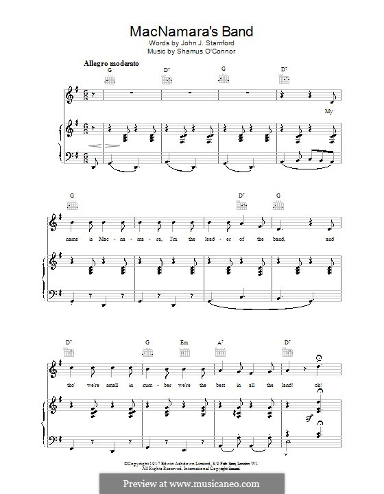 MacNamara's Band: For voice and piano (or guitar) by Shamus O'Connor