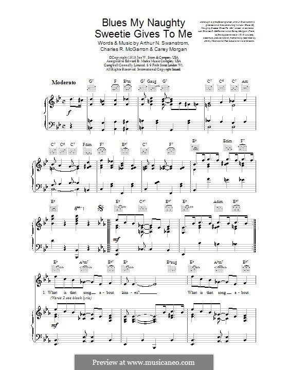 Blues My Naughty Sweetie Gives To Me: For voice and piano (or guitar) by Arthur Swanstrom