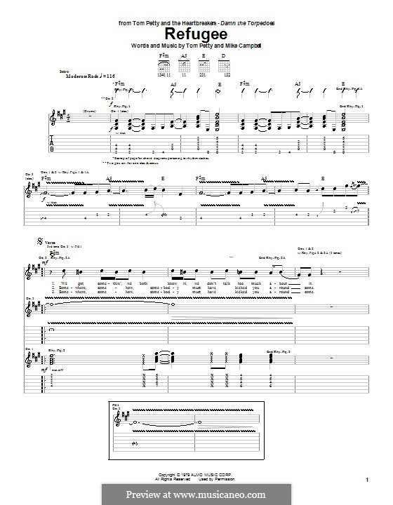 Refugee (Tom Petty and The Heartbreakers): For guitar with tab by Mike Campbell