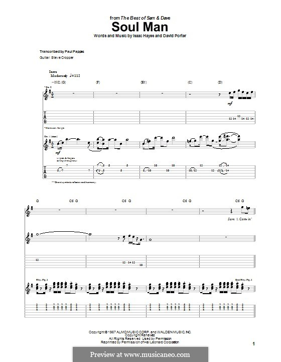 Soul Man (Sam & Dave): For guitar with tab by David Porter, Isaac Hayes