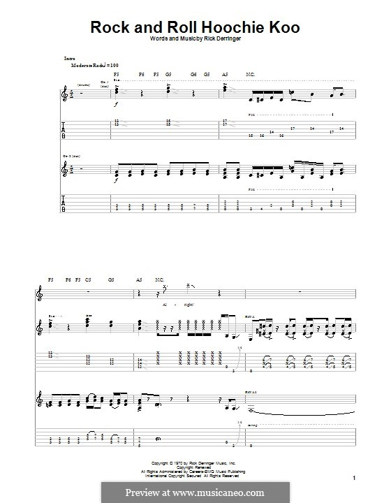 Rock and Roll Hoochie Koo: For guitar with tab by Rick Derringer
