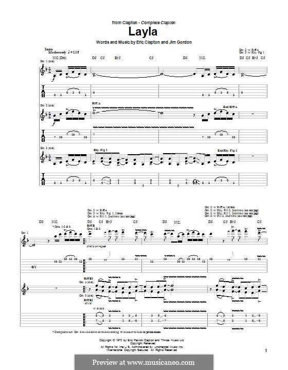 Layla (Derek and The Dominos): For guitar with tab by Jim Gordon
