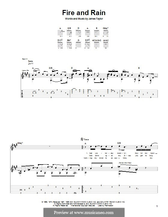 Fire and Rain: For guitar with tab by James Taylor