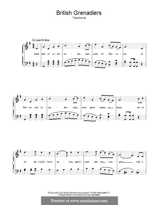 British Grenadiers: For voice and piano (or guitar) by Unknown (works before 1850)