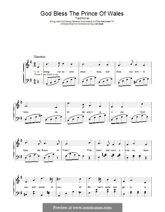 God Bless the Prince of Wales: For voice and piano (or guitar) by folklore