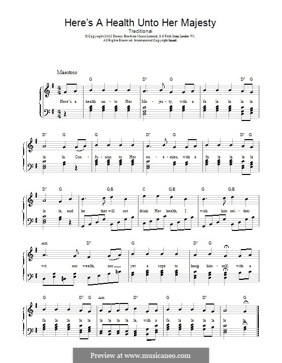 Here's a Health Unto Her Majesty: For voice and piano (or guitar) by folklore