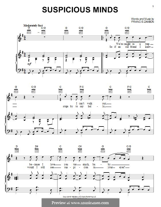 Suspicious Minds (Elvis Presley): For voice and piano (or guitar) by Francis Zambon