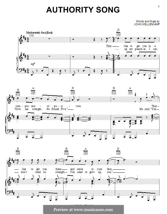 Authority Song By J Mellencamp Sheet Music On Musicaneo
