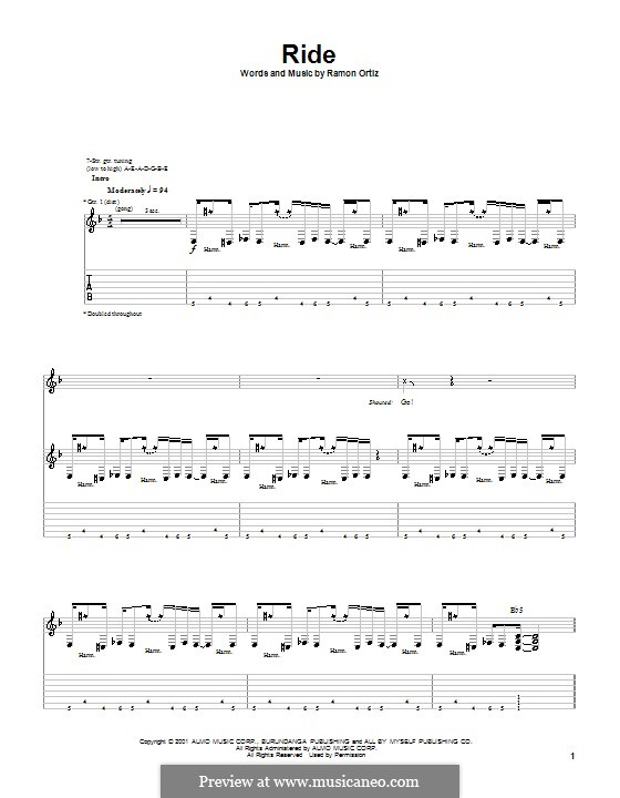 Ride (Puya): For guitar with tab by Ramon Ortiz