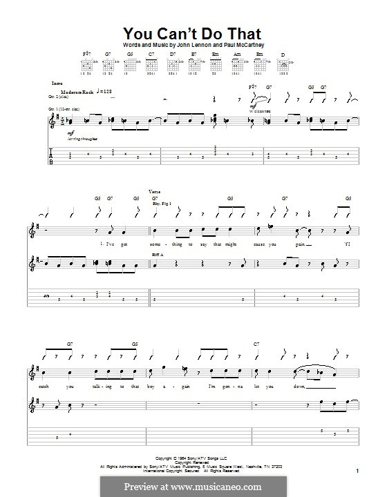 You Can't Do That (The Beatles): For guitar (with lyrics) by John Lennon, Paul McCartney