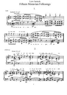 Patnáct moravské lidové písně (Fifteen Moravian Folksongs), JW 8/23: Patnáct moravské lidové písně (Fifteen Moravian Folksongs) by Leoš Janáček