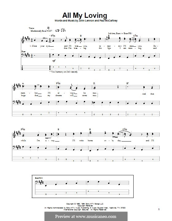 All My Loving (for guitar or piano): For bass guitar with tabulature by John Lennon, Paul McCartney
