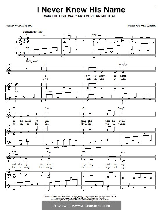 I Never Knew His Name: For voice and piano (or guitar) by Frank Wildhorn