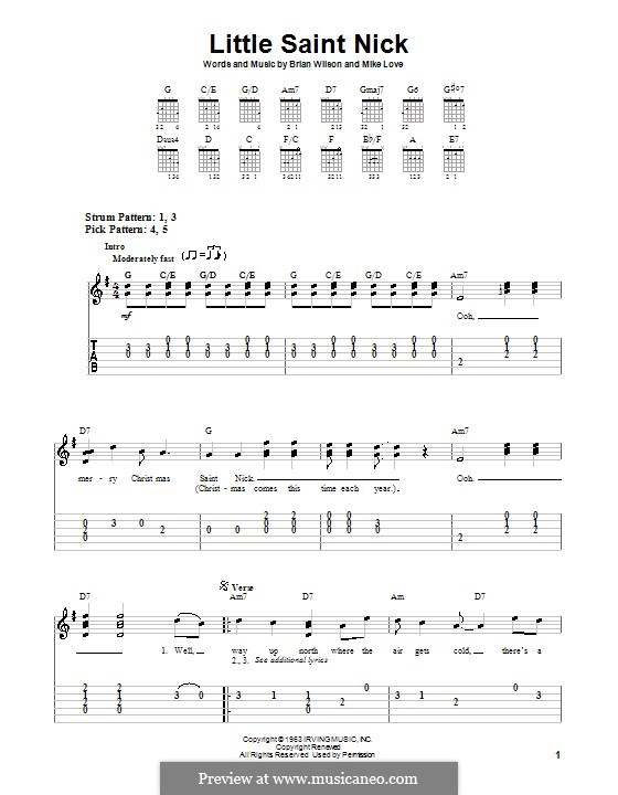 Little Saint Nick (The Beach Boys): For guitar (very easy version) by Brian Wilson, Mike Love