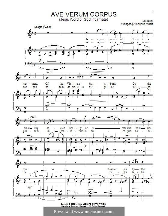 Ave verum corpus, K.618: For voice and piano by Wolfgang Amadeus Mozart