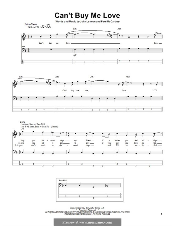 Can't Buy Me Love (The Beatles): For bass guitar with tab by John Lennon, Paul McCartney