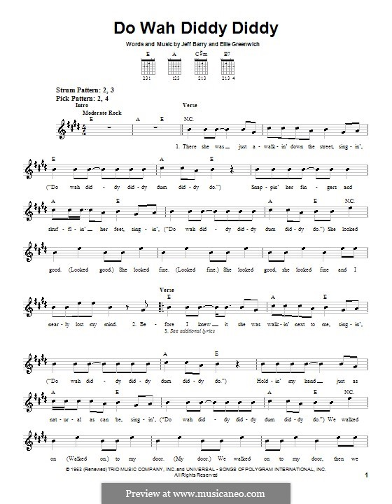 Do Wah Diddy Diddy (Manfred Mann): For guitar (very easy version) by Ellie Greenwich, Jeff Barry