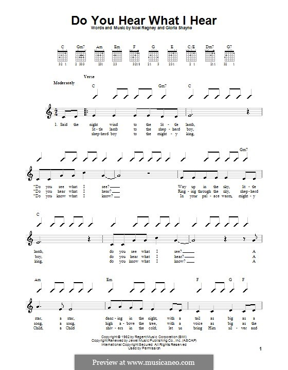 Do You Hear What I Hear: For guitar (with strumming patterns) by Gloria Shayne, Noël Regney