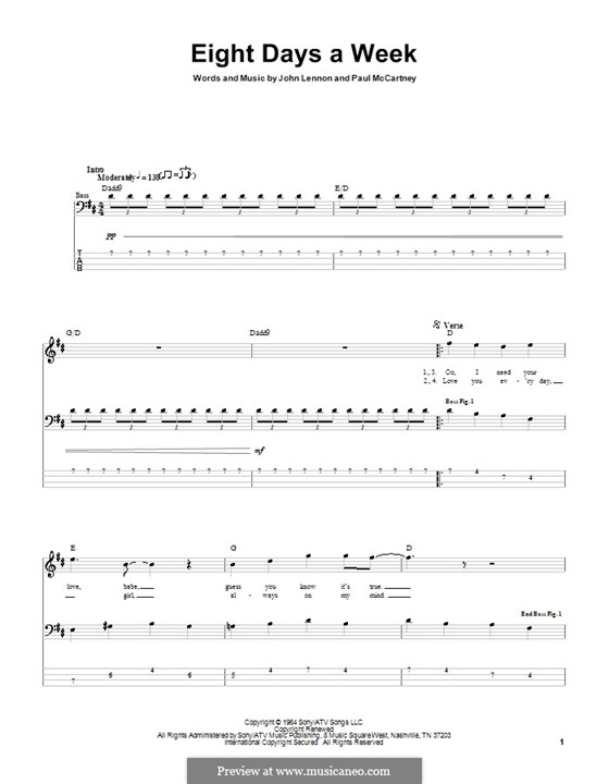 Eight Days a Week (The Beatles): For bass guitar with tabulature by John Lennon, Paul McCartney