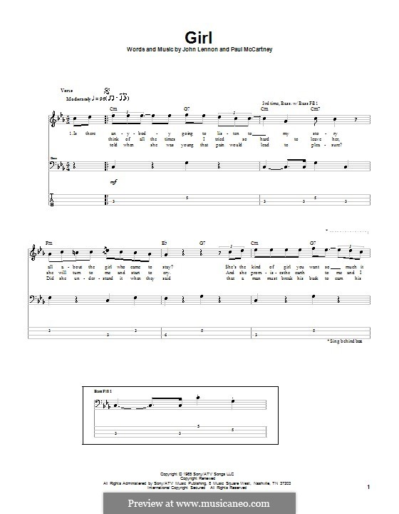 Girl (The Beatles): For bass guitar with tab by John Lennon, Paul McCartney