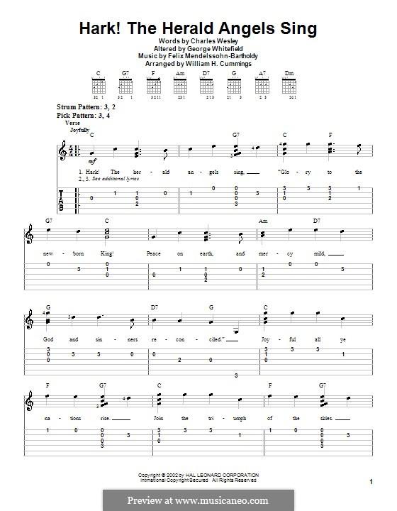 Hark! The Herald Angels Sing, for Solo Instrument: For easy guitar tab by Felix Mendelssohn-Bartholdy