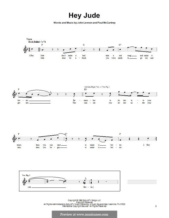 Hey Jude (The Beatles), for One Instrument: For bass guitar with tab by John Lennon, Paul McCartney